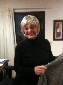 Mama looking so cute in her wig.