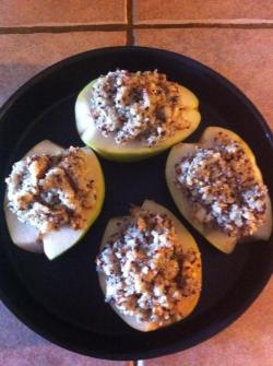 Quinoa Stuffed Pears ~ before <3